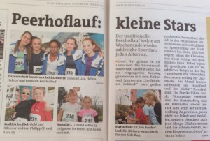 Artikel im Stadtblatt, Peerhoflauf 2015